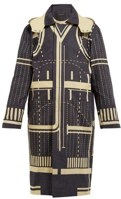 Craig Green Graphic Print Cotton Parka Jacket - Womens - Black Multi