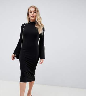 Asos DESIGN Petite midi bodycon dress with flared sleeves