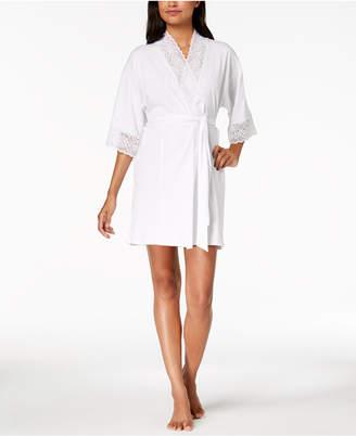Linea Donatella Sheer-Lace-Trim Wrap Robe