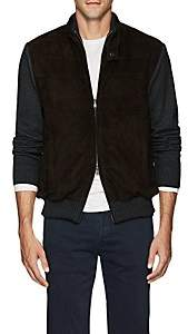Fioroni Men's Insulated Suede & Wool-Blend Bomber Jacket - Brown