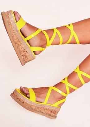 12c4fedb08f Missy Empire Missyempire Jolene Neon Yellow Tie Up Espadrille Platform  Sandals