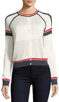 Neiman Marcus Cashmere Athletic Striped Cardigan