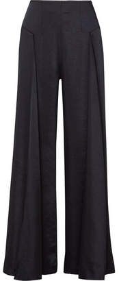 Paper London Lex Washed-satin Wide-leg Pants - Midnight blue