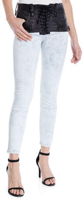 Unravel Hybrid Leather Lace-Up Skinny Jeans