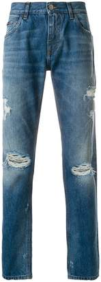 Dolce & Gabbana distressed straight leg jeans