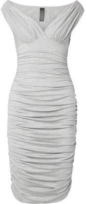 Norma Kamali Tara Ruched Stretch-jersey Dress - Light gray