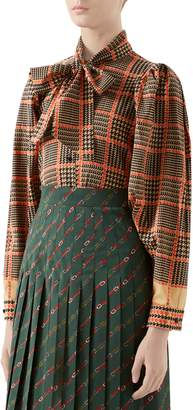 Gucci Tie Neck Houndstooth Print Wool Blouse