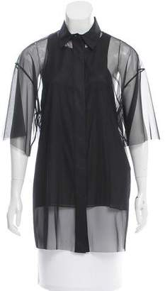 Vera Wang Sheer Short Sleeve Blouse w/ Tags $145 thestylecure.com