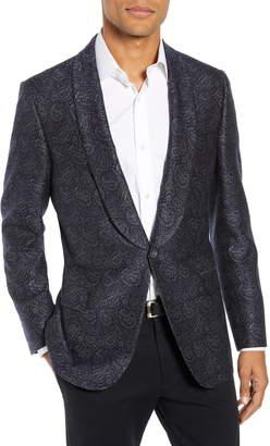 Hickey Freeman Classic Fit Paisley Wool & Silk Dinner Jacket