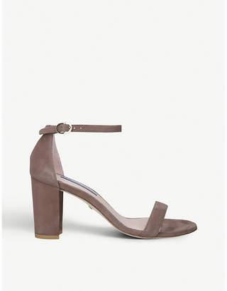 Stuart Weitzman Nearlynude 80 suede heeled sandals