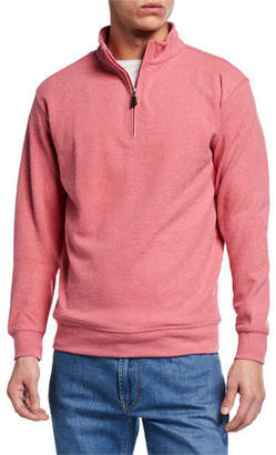 Peter Millar Men's Quarter-Zip Tri-Blend Melange Fleece Sweater