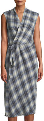 Vince Shadow-Plaid Sleeveless Wrap Dress