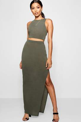boohoo Una Side Split Midi Skirt Knitted Co-ord