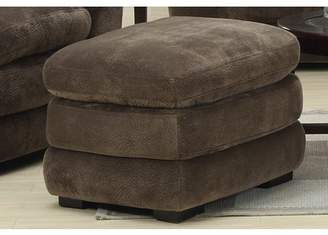 Emerald Home Devon Mocha Ottoman with Pocket Coil, Fixed Cushion And Easy Clean Microfiber Upholstery