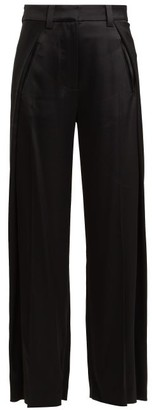 Summa - Foldover Wide Leg Satin Trousers - Womens - Black