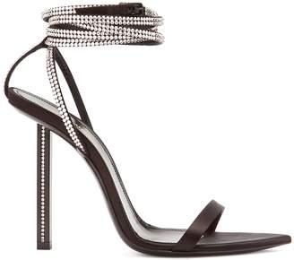 Tower crystal-embellished satin sandals