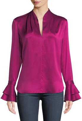 Elie Tahari Judith Long-Sleeve Silk Blouse w/ Tiered Cuffs