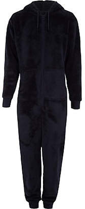 River Island Navy fleece hooded onesie