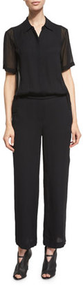 DKNY Short-Sleeve Collared Jumpsuit, Black $448 thestylecure.com