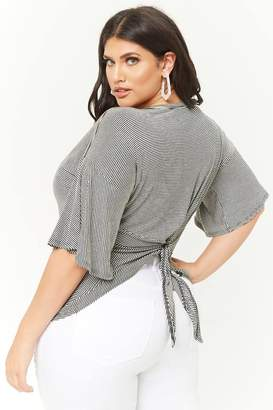 Forever 21 Plus Size Striped Tie-Back Top