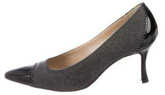 Manolo Blahnik Wool Cap-Toe Pumps