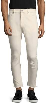 Zanerobe Men's Joe Blow Crop Distressed Cotton Skinny Jeans