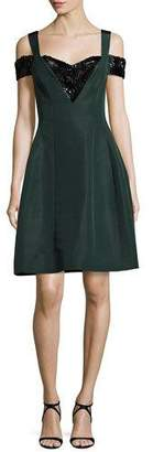 Prabal Gurung Cold-Shoulder Beaded Fit & Flare Dress, Green