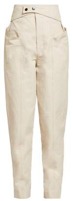 Isabel Marant Lixy High Rise Cotton Twill Trousers - Womens - Beige