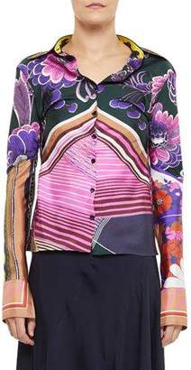 Chloé Abstract Multi Print Button-Front Shirt