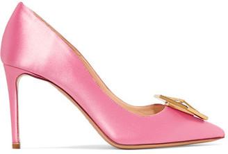 Eden Jewel Crystal-embellished Satin Pumps - Pink