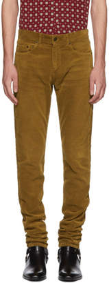 Saint Laurent Tan Skinny Cord Trousers