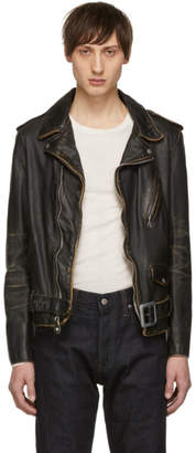 Schott Black Vintaged Leather Motorcycle Jacket