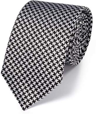 Charles Tyrwhitt Black and White Silk Puppytooth Classic Tie