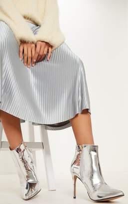 PrettyLittleThing Silver Patent Point Heel Ankle Boot