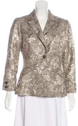 Oscar de la Renta Silk Embroidered Blazer