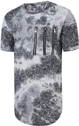 Pizoff Unisex Fashion Short Sleeve Extra Longline Arc Bottom Zipper Contrast Color Splatter Print T-shirts Dress