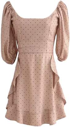 Goodnight Macaroon 'Jacey' Polka Dot Bell Sleeve Frilled Midi Dress (2 Colors)