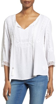 Women's Kut From The Kloth Lace Trim Gauze Blouse $68 thestylecure.com