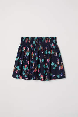 H&M Cotton Skirt with Smocking - Blue