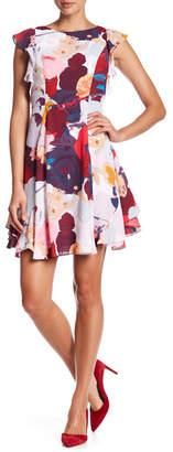 Julia Jordan Ruffle Cap Sleeve Printed Dress