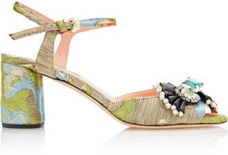 Rochas Brocade Block Heel Sandals