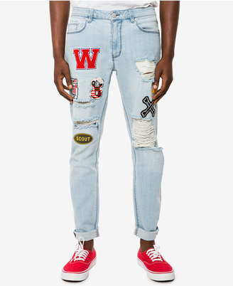 Jaywalker Men's Ripped Light Indigo Patch Jeans, Only at Macys $58 thestylecure.com