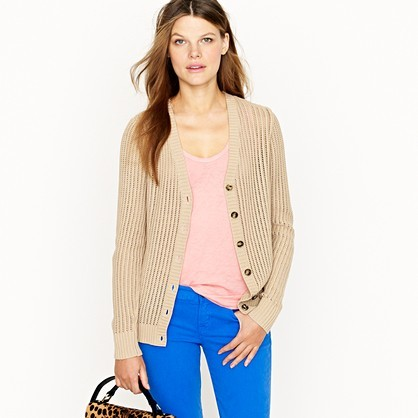 Cotton open-stitch cardigan