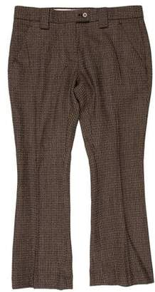 Rochas Wool Mid-Rise Straight-Leg Cropped Pants