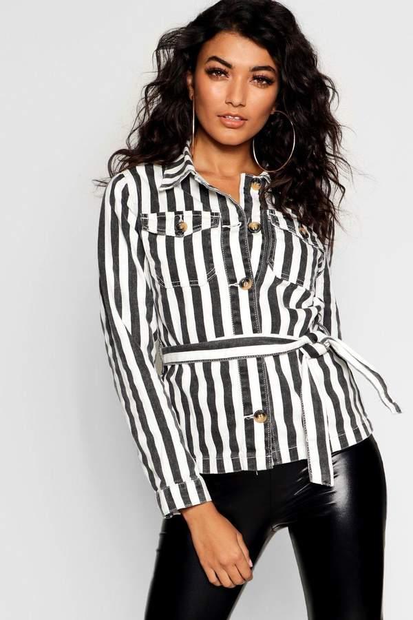 Stripe Belted Button Denim Shacket