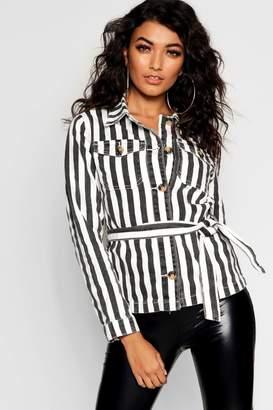 boohoo Stripe Belted Button Denim Shacket