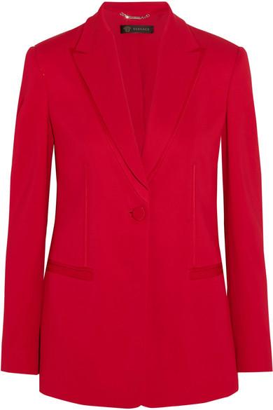 VersaceVersace - Satin-trimmed Crepe Blazer - Red