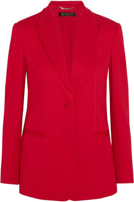 Versace - Satin-trimmed Crepe Blazer - Red $2,025 thestylecure.com