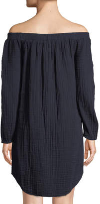 Three Dots Off-The-Shoulder Long-Sleeve Tunic, Navy