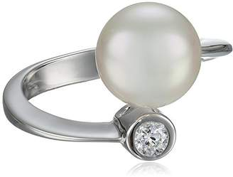 Majorica 10mm White Round Pearl and Cubic Zirconia Sterling Silver Spiral Ring
